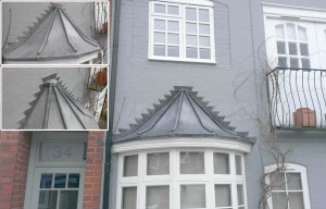 Decorative pitched lead bay roof