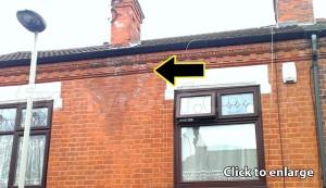 Gutter leak on terraced house