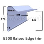 B300 fibreglass raised edge drip trim sizes size dimensions