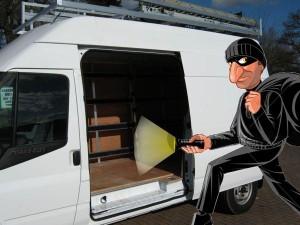 Van being robbed burgled broken into