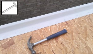 fibreglass trim fixed with 20mm clout nails