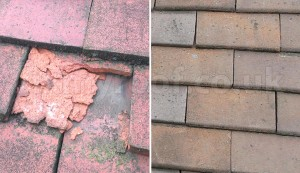 Flaking tiles and good tiles