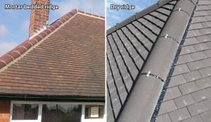 Ridge tiles mortar and dry rigde