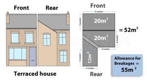 Terraced house roof plan calculator