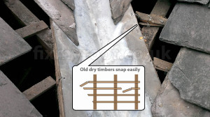 Broken slating lath batten