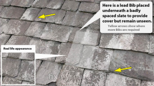 Lead bib slate repair underneath slate