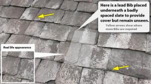 Lead bib slate repair underneath slate