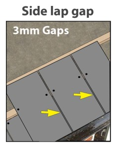 Slate side lap gap
