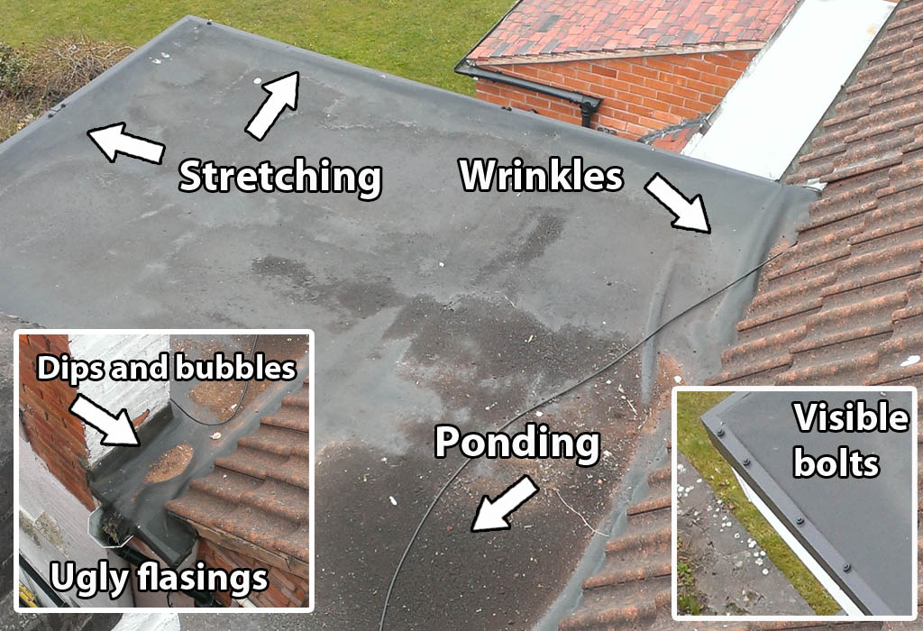 this is what you dont want ugly epdm rubber roof - Rubberised Roof Membrane