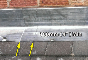 Minimum Lead flashing overlaps