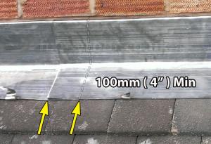 Minimum Lead flashing overlaps
