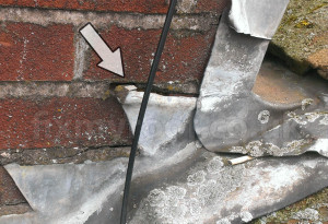 Leaking chimney flashing