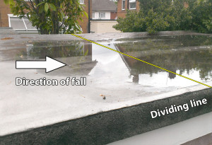 Roof holding water with neighbour