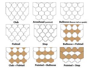 Hanging tile shaped tiles