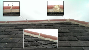 Cracks in ridge tile cement mortar