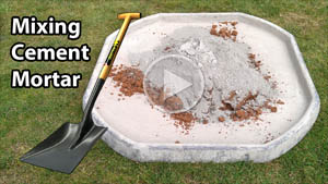 Mix cement mortar on a spot icon