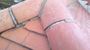 Pointing fired clay ridge tiles