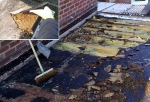 Rotten flat roof timber deck