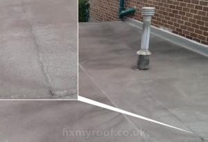Splits in asphalt roof