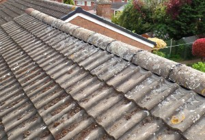 Dry ridge on tiled roof