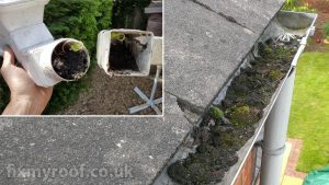 Blocked guttering and down pipes